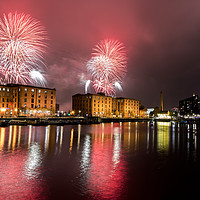 Buy canvas prints of Albert dock fireworks Liverpool by Kevin Elias