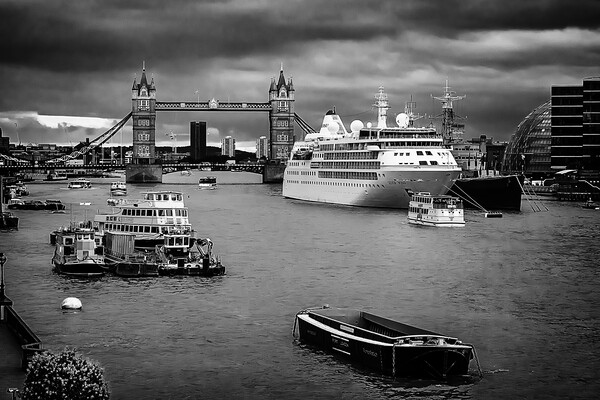 Thames traffic Framed Mounted Print by Kevin Elias