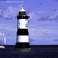 Buy canvas prints of Penmon lighthouse poster. by Kevin Elias