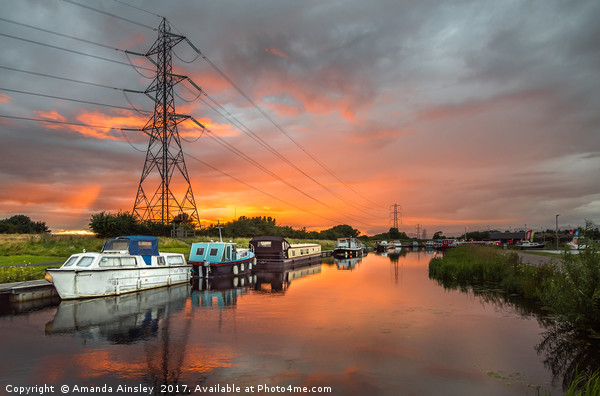 Summer Canal Sunset Canvas print by Amanda Ainsley