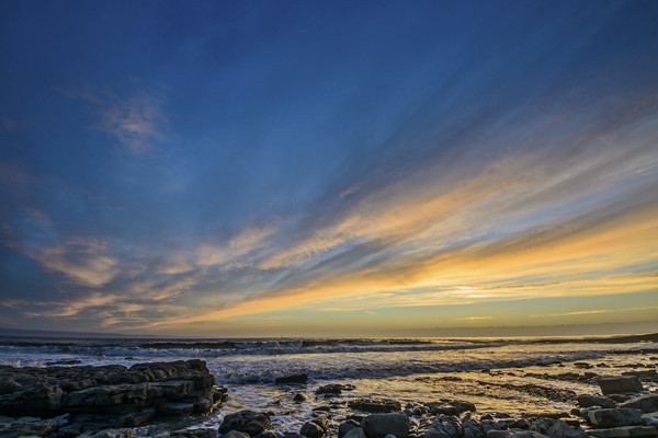 Evening Sky over Nash Point Canvas print by Nick Jenkins