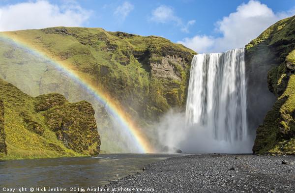 Skogafoss Waterfall and Rainbow Iceland Canvas print by Nick Jenkins