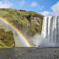 Buy canvas prints of Skogafoss Waterfall and Rainbow Iceland by Nick Jenkins