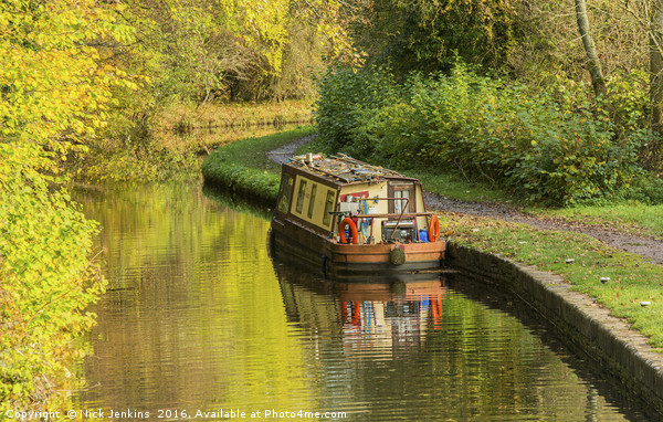 Narrowboat Moored Brecon Monmouth Canal Autumn Canvas print by Nick Jenkins