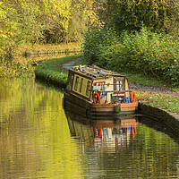 Buy canvas prints of Narrowboat Moored Brecon Monmouth Canal Autumn by Nick Jenkins