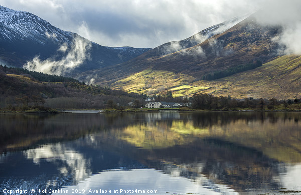 Reflections on Loch Leven North West Scotland Canvas print by Nick Jenkins