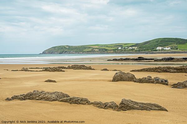 Looking across Croyde Bay North Devon Coast Canvas Print by Nick Jenkins