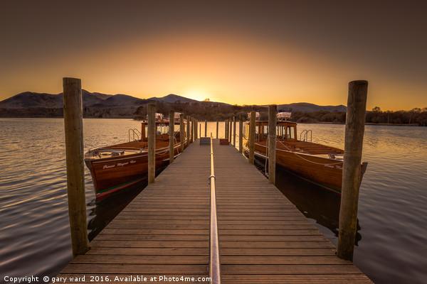 derwent water boats sunset Canvas Print by gary ward