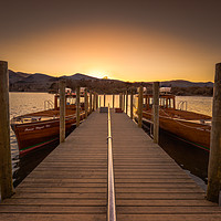 Buy canvas prints of derwent water boats sunset by gary ward