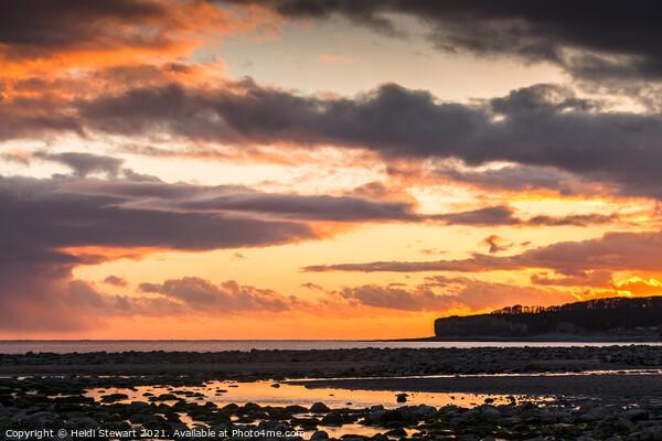 Sunset on Llantwit Beach Print by Heidi Stewart