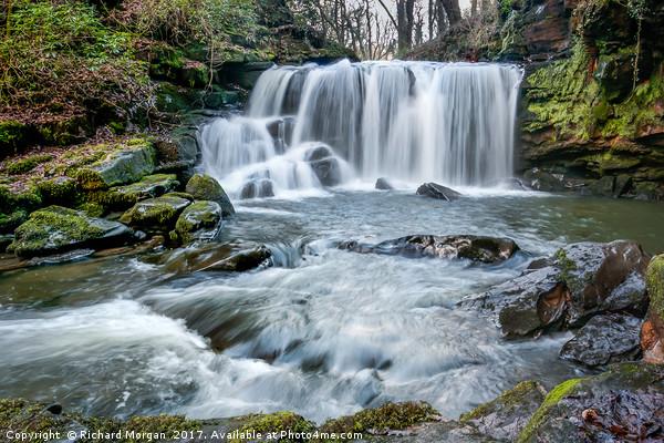Cwm Du Glen Waterfalls, Pontardawe, Swansea. Canvas print by Richard Morgan