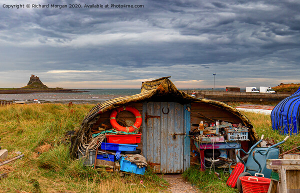 Upturned boats used as fishing shelters - on Holy Island. Acrylic by Richard Morgan