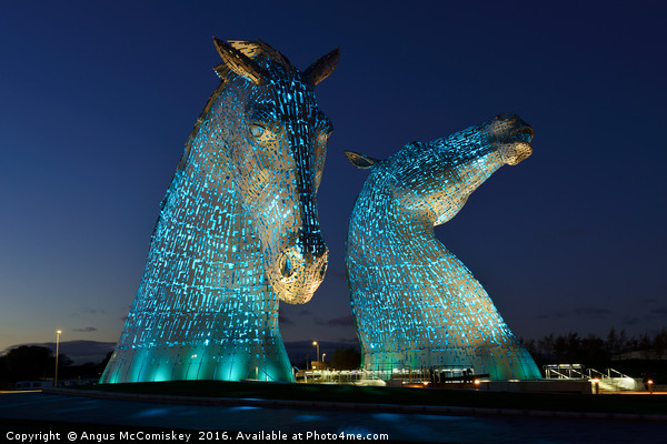 The Kelpies by night Canvas Print by Angus McComiskey