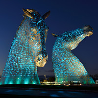 Buy canvas prints of The Kelpies by night by Angus McComiskey