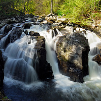 Buy canvas prints of Black Linn Waterfall in spring by Angus McComiskey