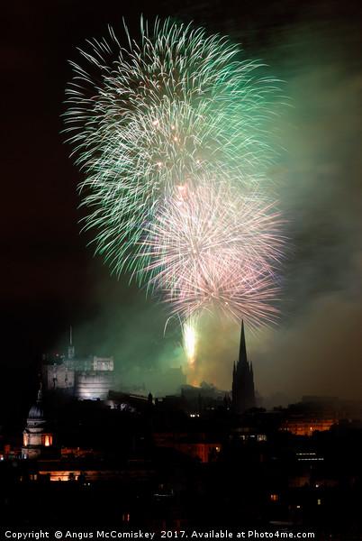 Edinburgh Festival Fireworks from Salisbury Crags Canvas print by Angus McComiskey