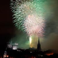 Buy canvas prints of Edinburgh Festival Fireworks from Salisbury Crags by Angus McComiskey