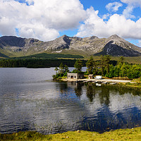Buy canvas prints of Boathouse on Lough Inagh, County Galway by Angus McComiskey