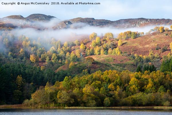 Mist shrouded autumn colours on Loch Faskally Canvas print by Angus McComiskey