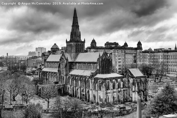 Glasgow Cathedral from the Necropolis mono Canvas print by Angus McComiskey