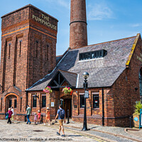 Buy canvas prints of The Pumphouse on Royal Albert Dock, Liverpool by Angus McComiskey