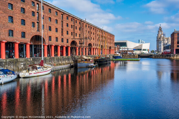 Boats moored in Royal Albert Dock, Liverpool Framed Mounted Print by Angus McComiskey