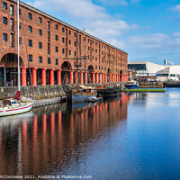 Buy canvas prints of Boats moored in Royal Albert Dock, Liverpool by Angus McComiskey
