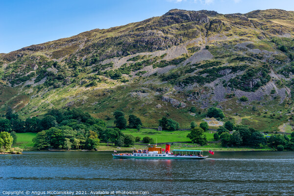 "Lake steamer ""Lady of the Lake"" on Ullswater Canvas Print by Angus McComiskey"