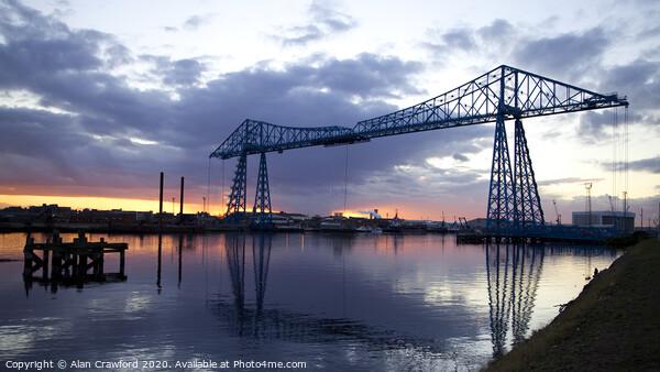 The Transporter Bridge, Teesside, at sunset Print by Alan Crawford