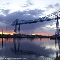 Buy canvas prints of The Transporter Bridge, Teesside, at sunset by Alan Crawford