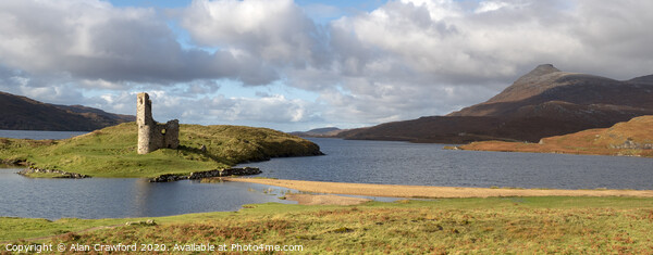 Ardvreck Castle at Loch Assynt, Scotland Print by Alan Crawford