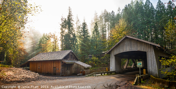 The Cedar Creek Grist Mill in Washington State. Acrylic by Jamie Pham
