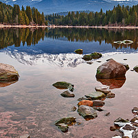 Buy canvas prints of A dramatic view of Mount Shasta from Lake Siskiyou by Jamie Pham