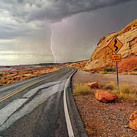 Buy canvas prints of Lightning strike nevada dessert by Jamie Pham