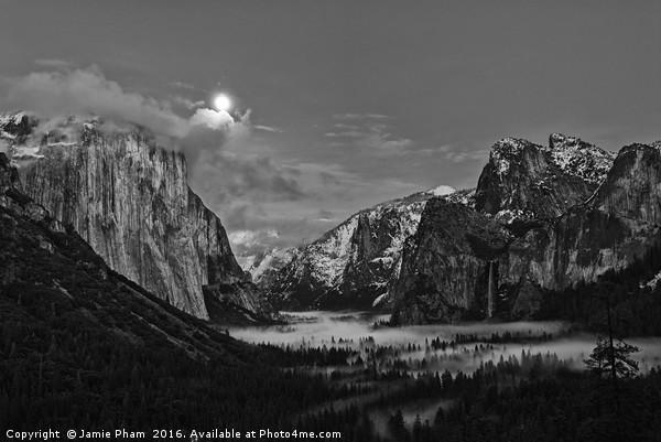 Dramatic moonrise over Yosemite National Park. Canvas print by Jamie Pham