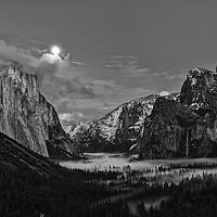 Buy canvas prints of Dramatic moonrise over Yosemite National Park. by Jamie Pham