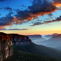 Buy canvas prints of Dawn on the Blue Mountains in Australia by Colin Woods