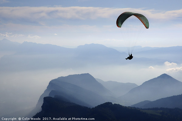 Parapenting in the French Alps Canvas print by Colin Woods