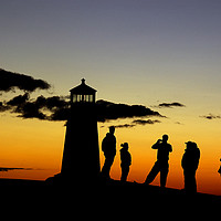 Buy canvas prints of People taking photos at Peggy's Cove Lighthouse by Colin Woods