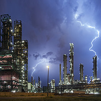 Buy canvas prints of Lightning Bolts striking over Oil Refinery by Arterra