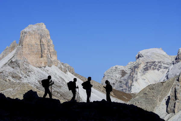 Walkers in the Dolomites Canvas print by Arterra