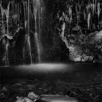 Buy canvas prints of Frozen Waterfall, Buckden by Jim Round