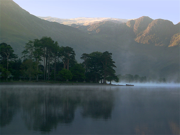Boat in the Mist, Buttermere Canvas print by Jim Round