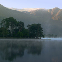 Buy canvas prints of Boat in the Mist, Buttermere by Jim Round