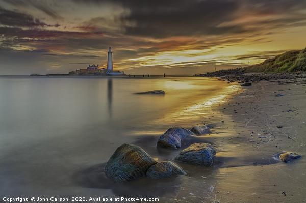 St Mary's Lighthouse Sunrise. Canvas Print by John Carson