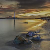 Buy canvas prints of St Mary's Lighthouse Sunrise. by John Carson