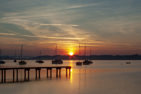 Ammersee Sunrise Canvas Print by Stephen Smith Galleries