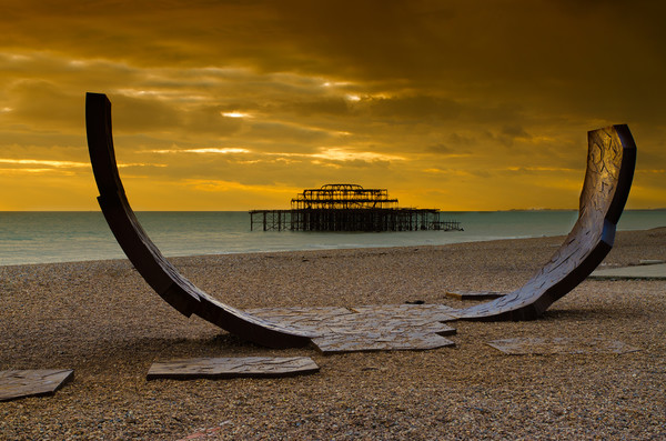 The West Pier Framed Mounted Print by Stephen Smith Galleries