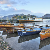 Buy canvas prints of Derwentwater boats at sunrise, Lake District by Chris Harris