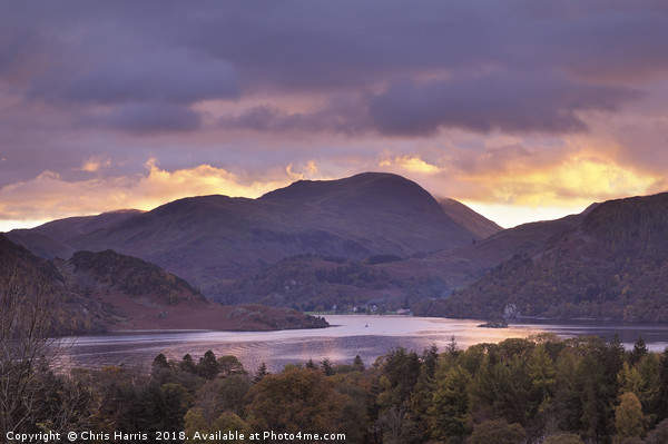 Ullswater at sunset Canvas print by Chris Harris